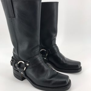 FRYE BLACK PHILIPS HARNESS MID-CALF MOTO BOOTS 8